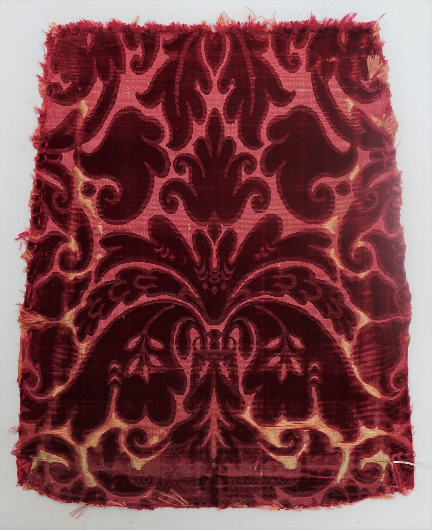 Chair back made of silk, voided velvet with cut and uncut pile, early 19th century (TRC 2011.0368).