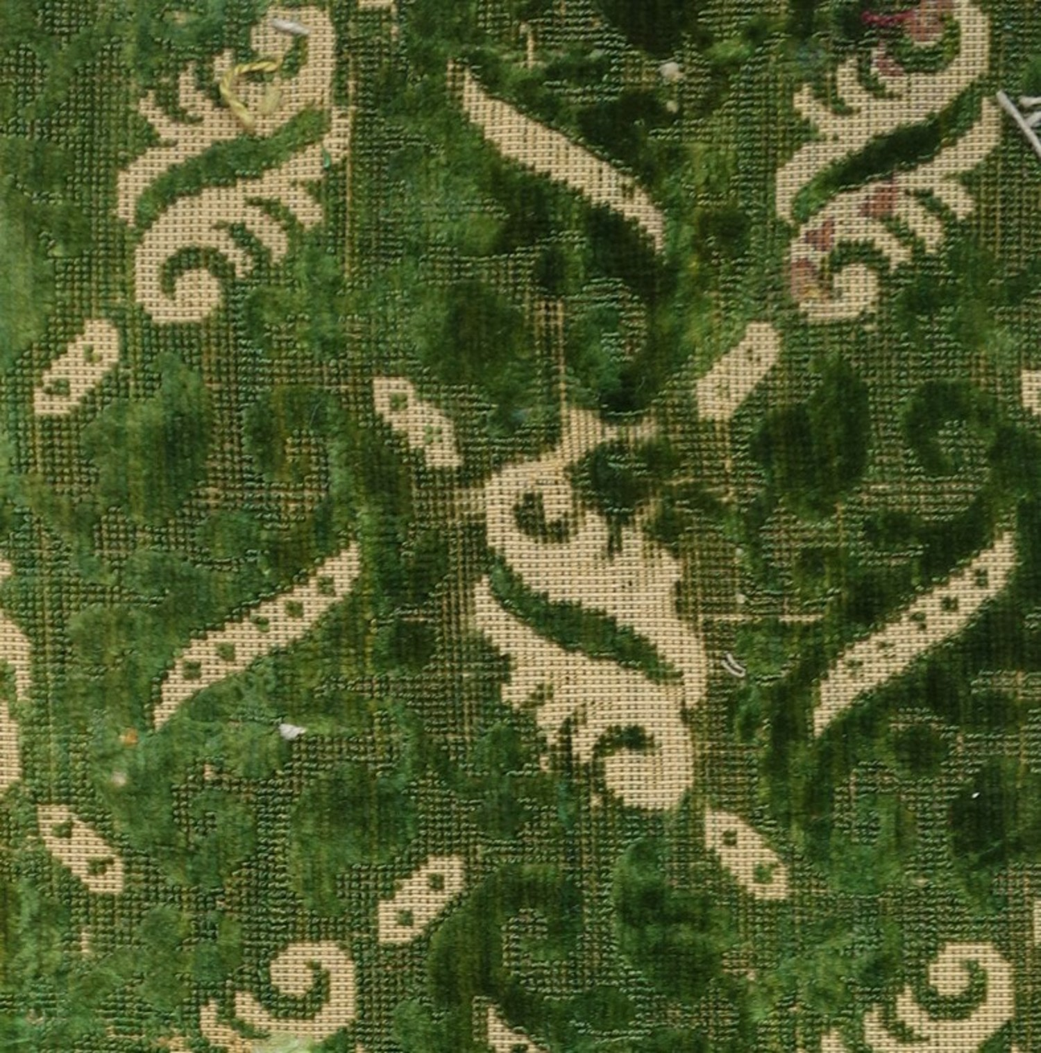 Early 17th century silk and linen voided velvet, European (TRC 2011.0375).