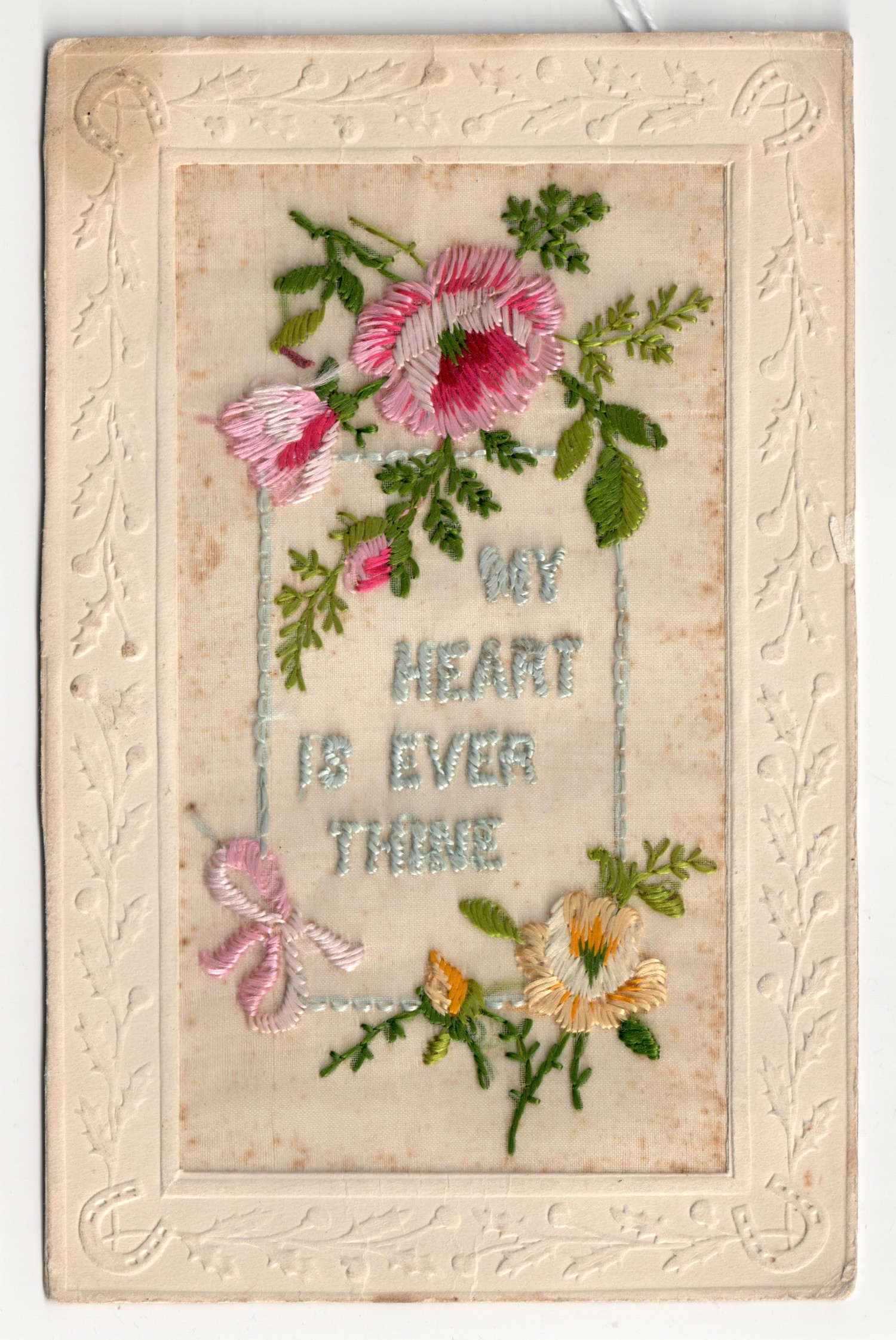 Embroidered postcard from the First World War (TRC 2015.0431).
