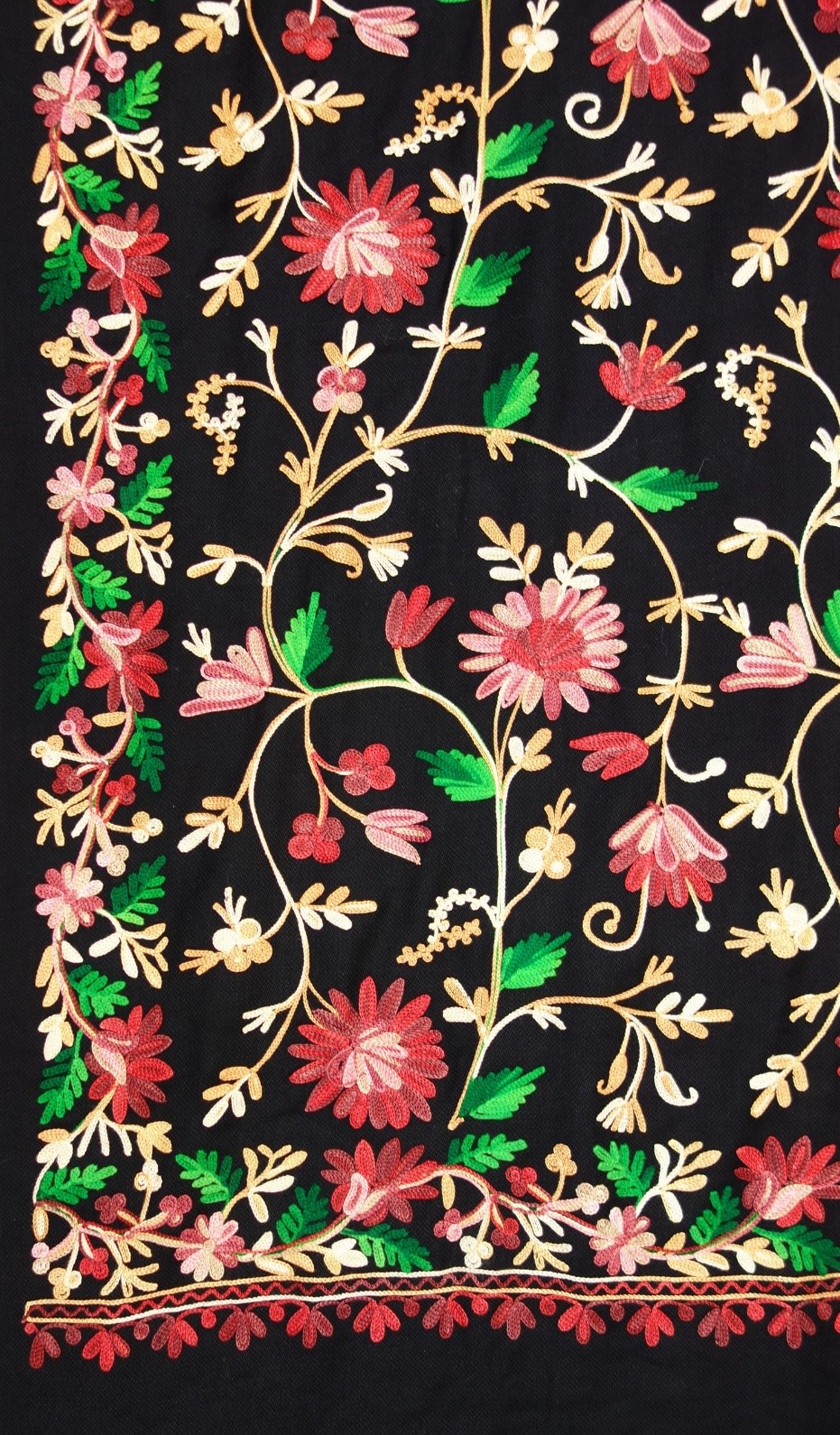 Detail of an embroidered shawl from Nepal (TRC 2017.0060).
