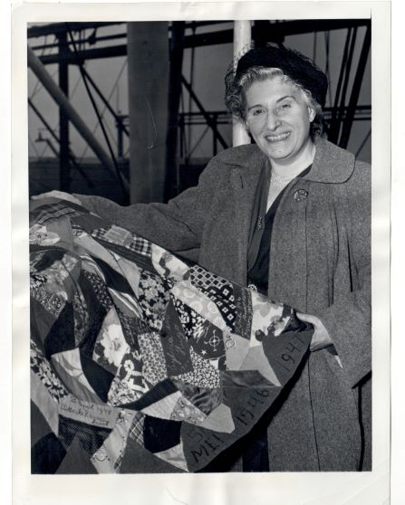 Photograph showing Mrs. Boissevain and a Feestrok, January 1949 (TRC 2018.3323).