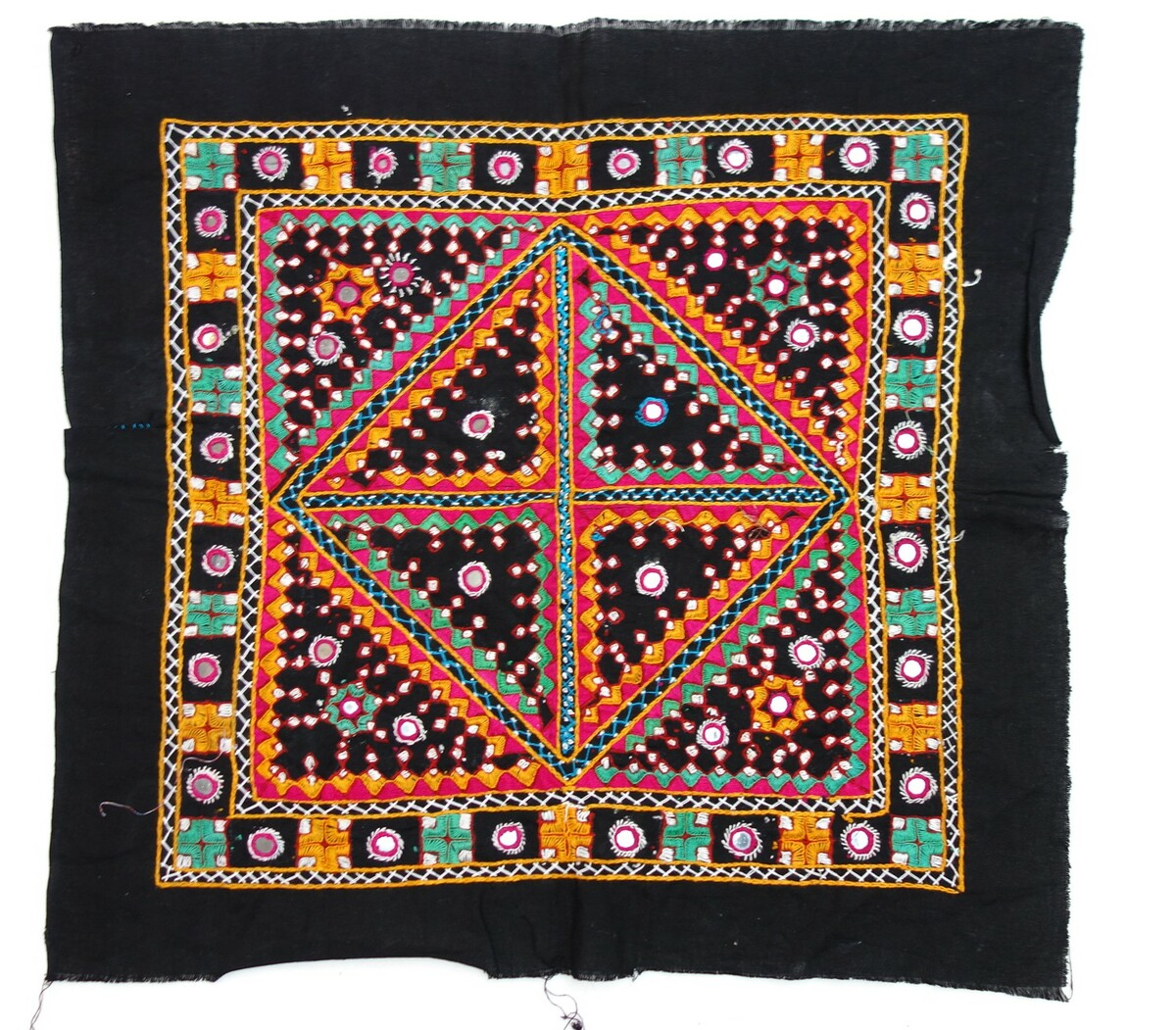 Sample of embroidered black cotton cloth with a square design enclosing various, interconnecting geometric shapes and applied mirrors. Factory woven cloth, hand embroidery (blanket stitch, stem stitch, chain stitch, couched herringbone stitch). India, late 20th century (TRC 2019.0286).