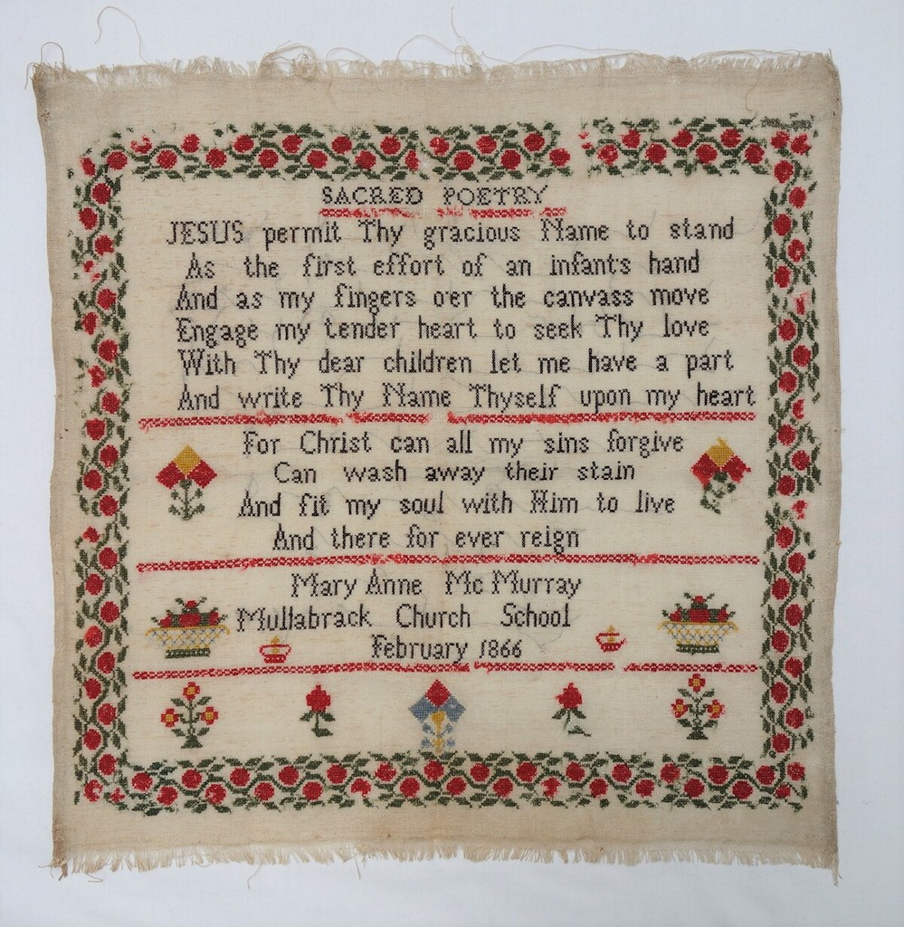 Sampler made by Mary Anne McMurray in 1866, Ireland (TRC 2019.2023).