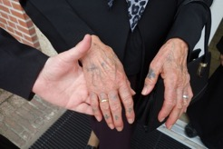 A woman's tattooed hands following several visits to Jerusalem (photograph by Gillian Vogelsang-Eastwood).