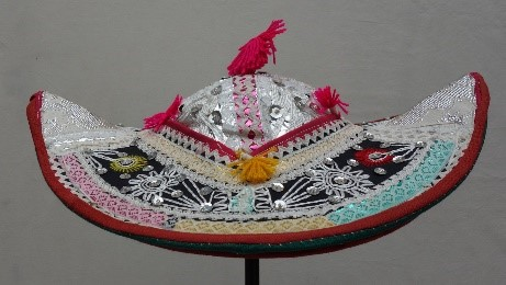 Woman's hat with sequins and beads for an Aymara woman, Tarabuco region of Bolivia (TRC 2018.0602; v/d Bijl collection).