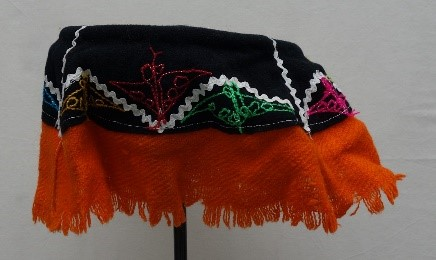 Peruvian woman's hat with deep red fringe from the Checaspampa region (TRC 2018.0593; v/d Bijl collection).