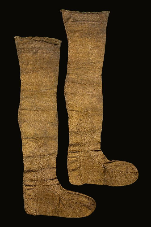 Two 17th century silk stockings, found along the coast of Texel, the Netherlands.