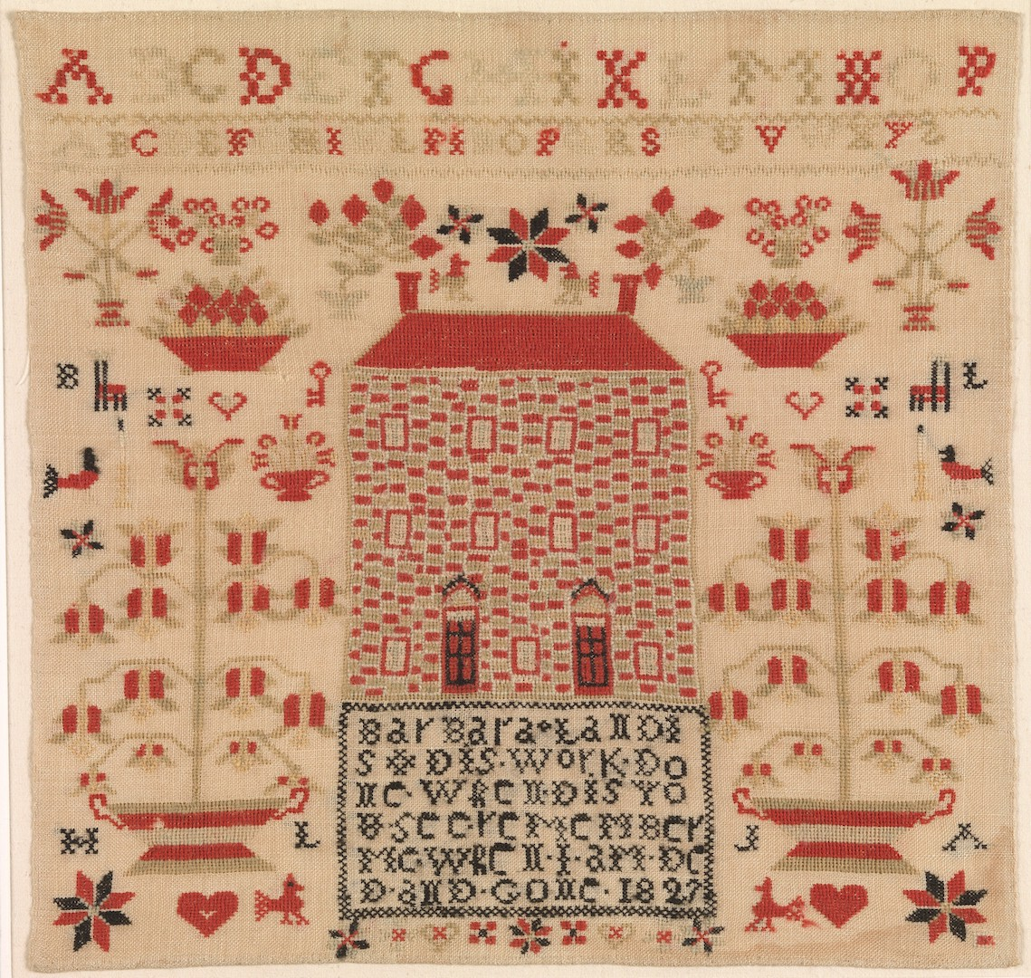 An American/German sampler from 1827, worked by Barbara Landis (USA; Gift of Mrs. Robert W. de Forest, 1933, courtesy of the Metropolitan Museum of Art, MMA 34.100.209).