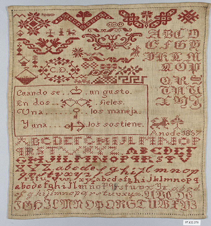 Sampler in the Metropolitan Museum of Art, New York (MMA 57.122.275) that comes from Spain and is dated to 1867.