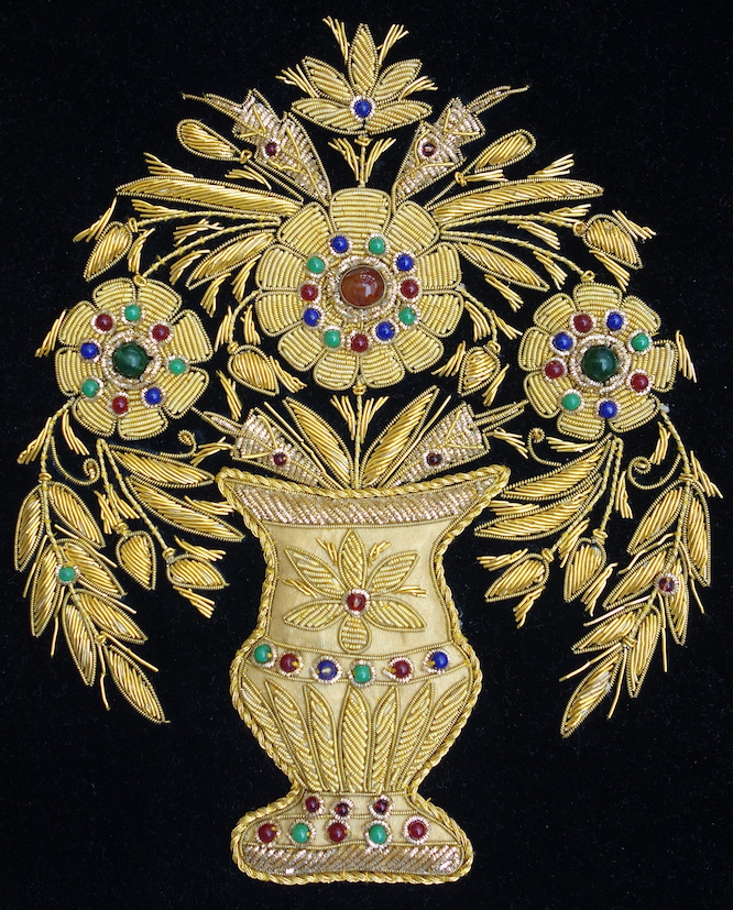 Modern piece of goldwork (zardozi) from Agra, India. Acquired for the TRC collection on 30th July 2017.