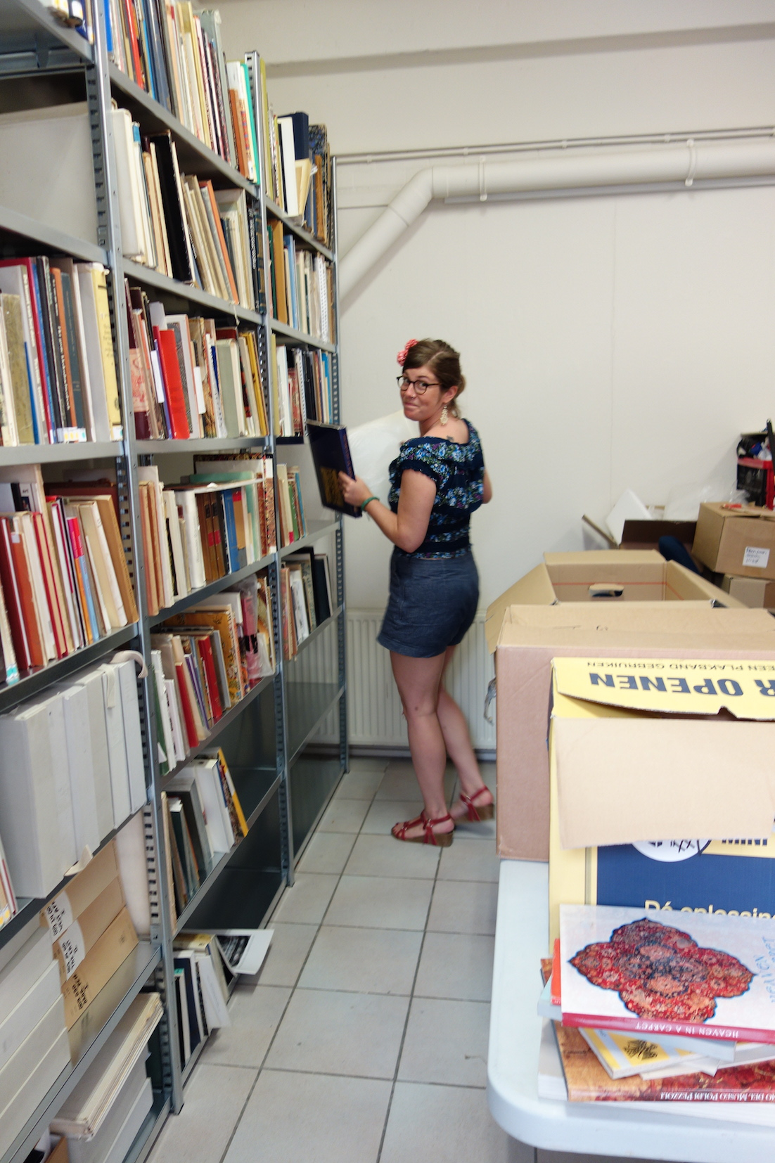 Nelleke Honcoop, one of the TRC volunteers, sorting out the new publications for the TRC Library.