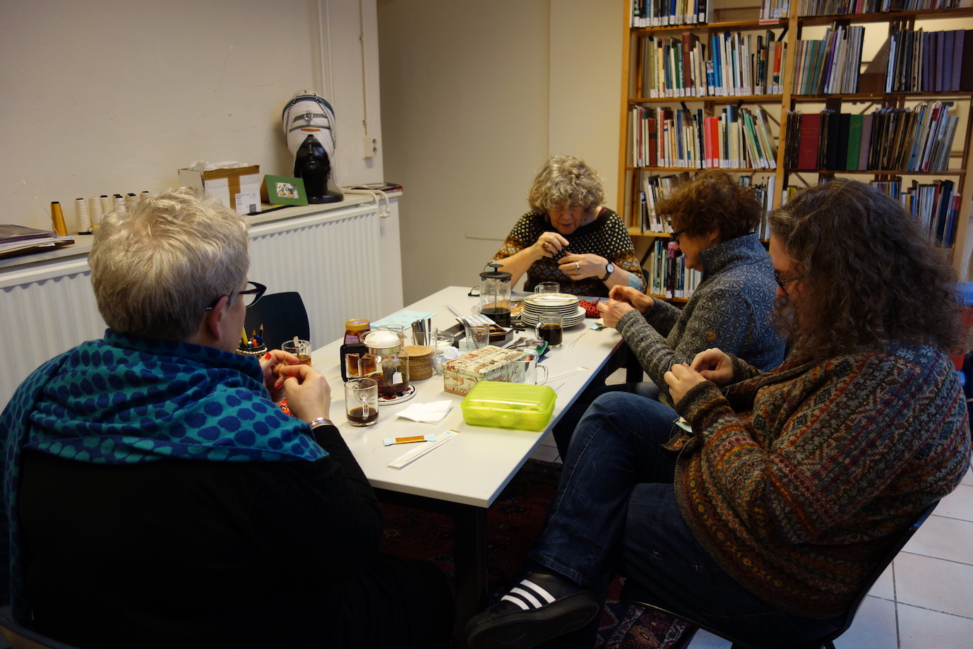 Four experienced knitters for the TRC Silk Stockings project, 29th December 2017.