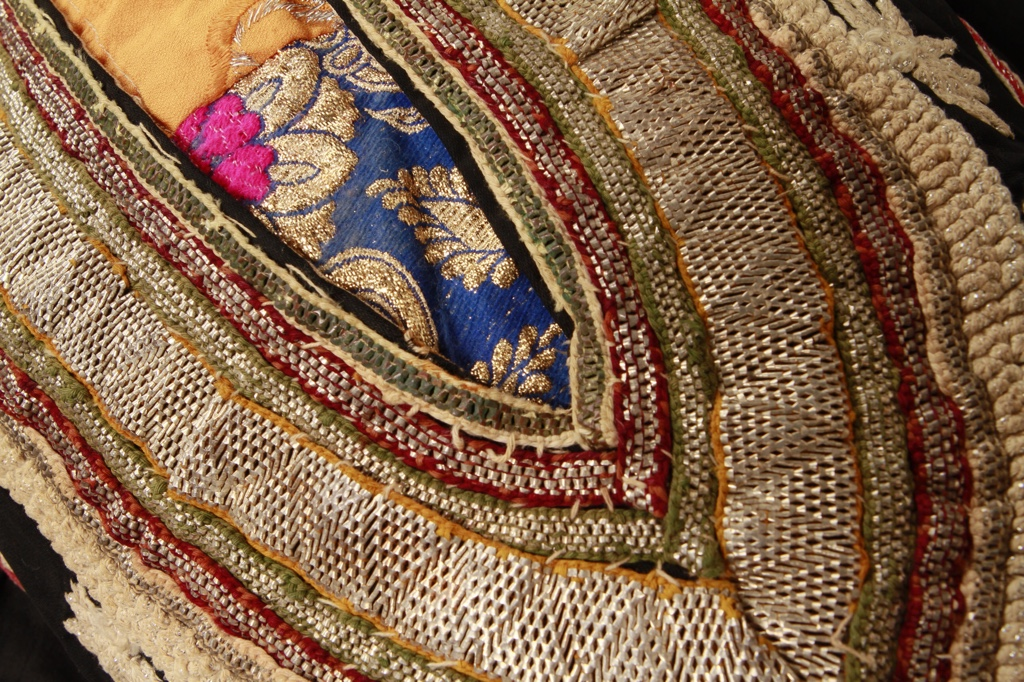 Detail of embroidered neck opening of Tihama dress, Yemen. TRC collection. Photograph: Joost Kolkman