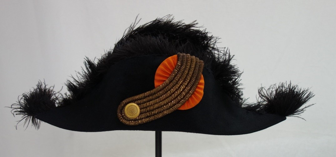Bicorn hat that belongs to the parliamentary uniform of Laurens de Groot (TRC 2018.2133c).