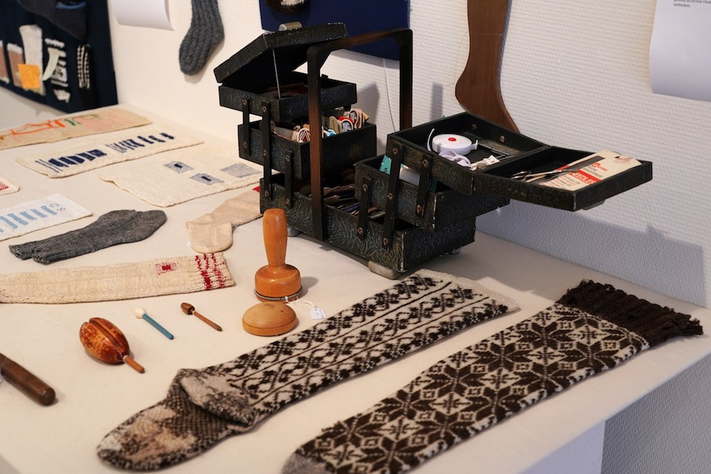 Part of the darning and mending section. Socks&Stockings exhibition, TRC, 2019. Photograph by Joost Kolkman.