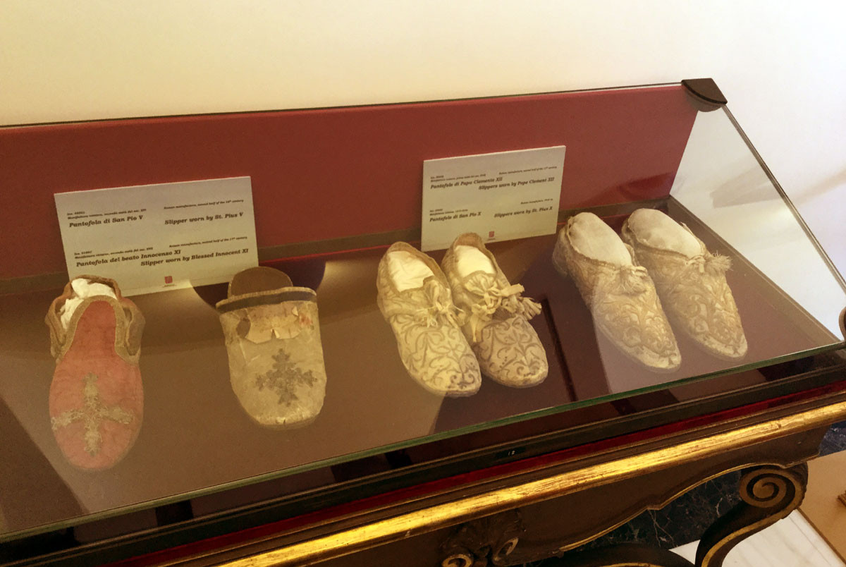 Papal slippers, on display in the museum of the Apostolic Palace, Castel Gandolfo.