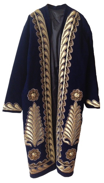 Uzbek chapan with gold work embroidery. TRC collection.