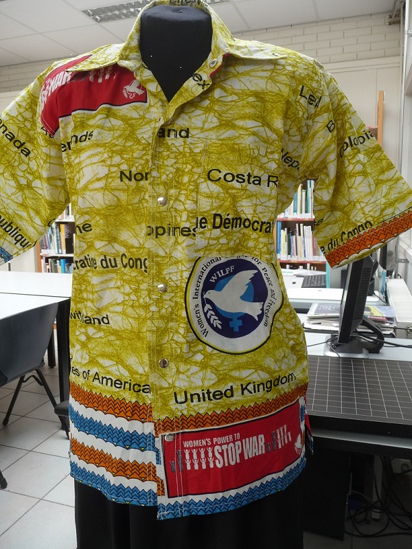 Woman's blouse from Congo with political messages. TRC 2015.0231.