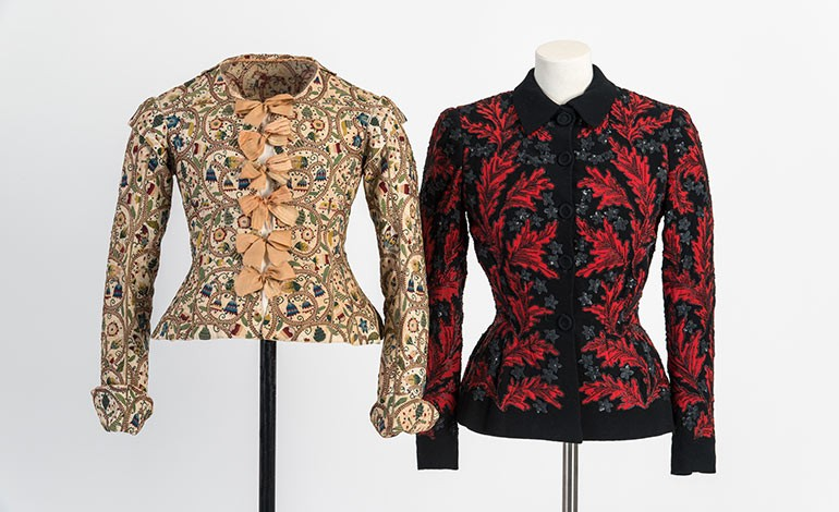 Two garments on display in the exhibition 'A History of Fashion in 100 Objets', Fashion Museum, Bath, until 1 January 2019.