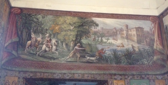 Fresco, or imitation tapestry, showing a hunting scene, in the Villa d'Este, Italy, late sixteenth century.