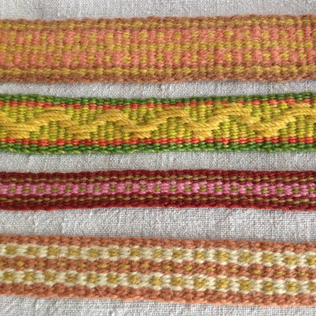 Examples of card weaving.