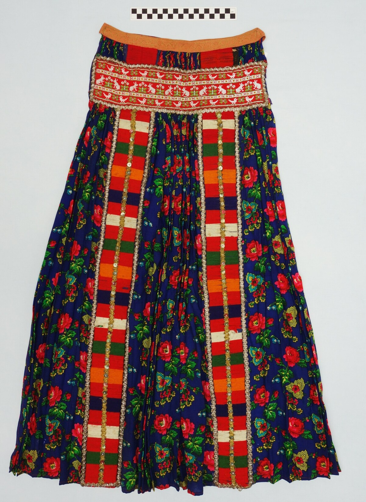 Detail of a woman's apron from Hungary, 1930's, decorated with beadwork.