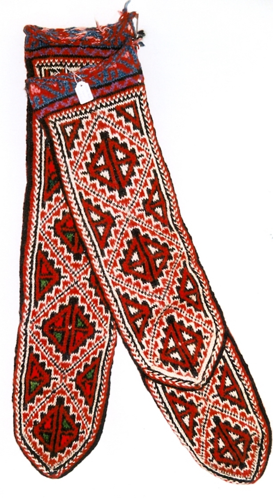 Hand knitted socks from the Shahsavan in northwestern Iran. Late 20th century (TRC 1998.0260a-b).