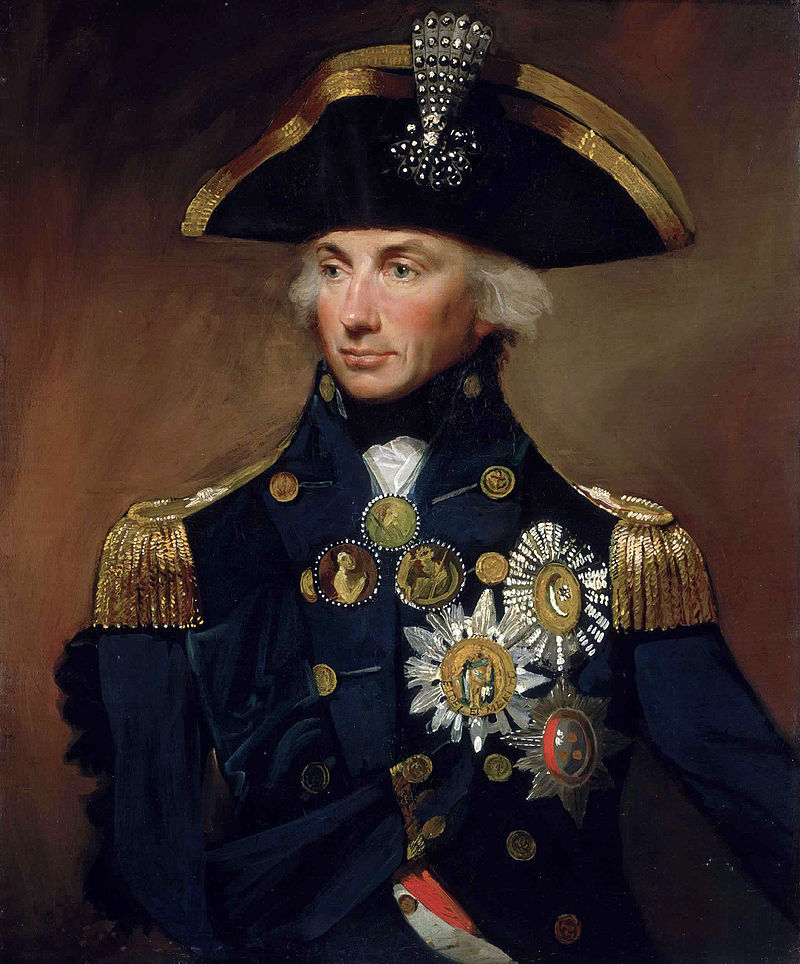 Rear-Admiral Horatio Nelson (1758-1805), by Lemuel Francis Abbott (1799). He is wearing, among others, the insignia of the Order of the Crescent; the Order of Saint Ferdinand and Merit; and the Order of the Bath (National Maritime Museum Greenwich).