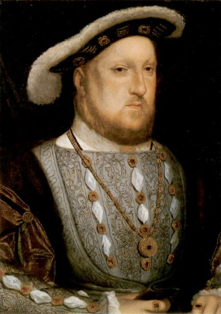 Henry VIII, by Hans Holbein the Younger. The blackwork down the front of his main garment is done in Holbein stitch.