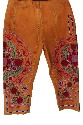 Embroidered trousers for Afghan wrestler in a zurkhana ('House of Strength'), Kabul, early 20th century.